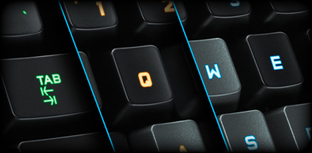 G510s keyboards section close up of custom color key illumination