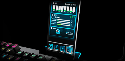 Arx Control Integration shows in-game stats on a mobile screen docked with G910 keyboard ARX dock