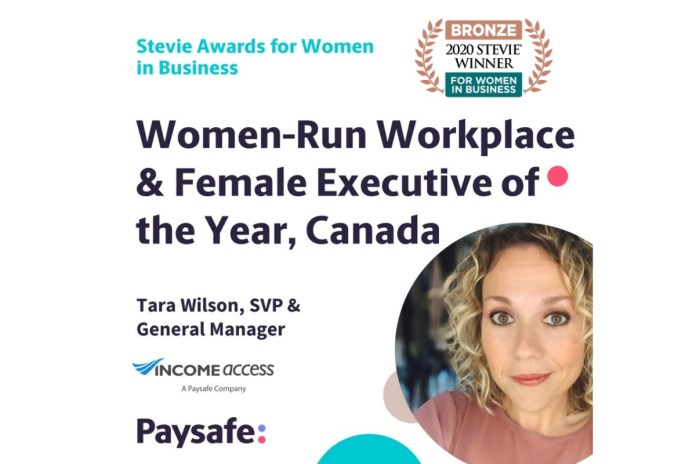 Income Access Honoured with Two Bronze Stevie Awards for Women in Business