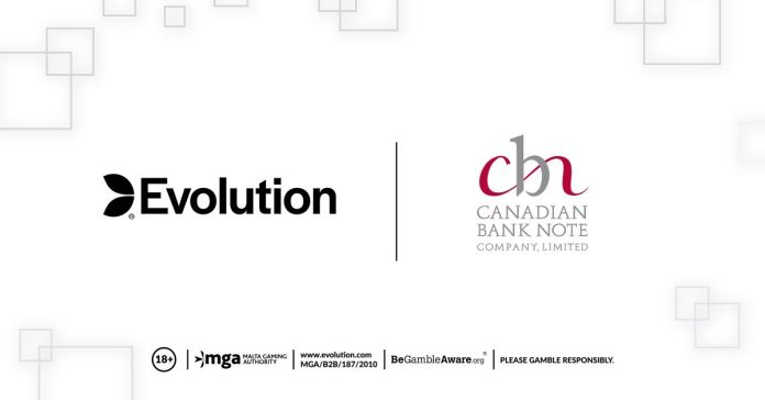 EVOLUTION ANNOUNCES PARTNERSHIP WITH CANADIAN BANK NOTE COMPANY, LIMITED