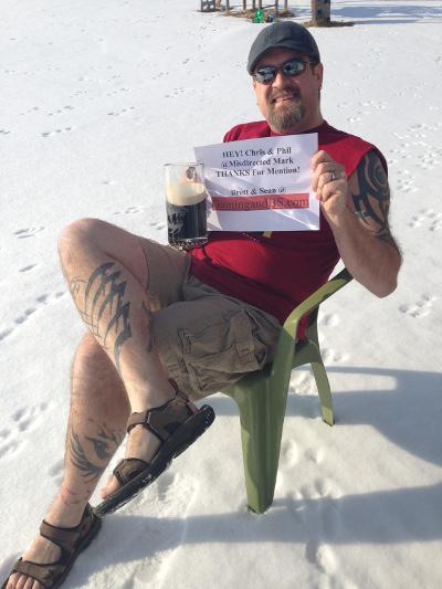 Brett enjoying a frosty one on a balmy Wisconsin day.