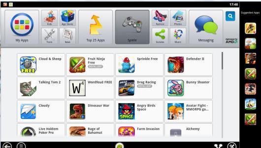 So sieht die AppZone-Software aus. Sie emuliert quasi ein Smartphone mit Android. (Foto: GamingGadgets.de)