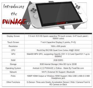 Die technischen Spezifikationen des PWNAGE Li (Foto: pwnageproject.org)