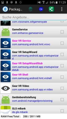 Die Übersicht. Deaktiviert ausschließlich Gear VR Service. Mehr nicht. (Foto: Sven Wernicke)