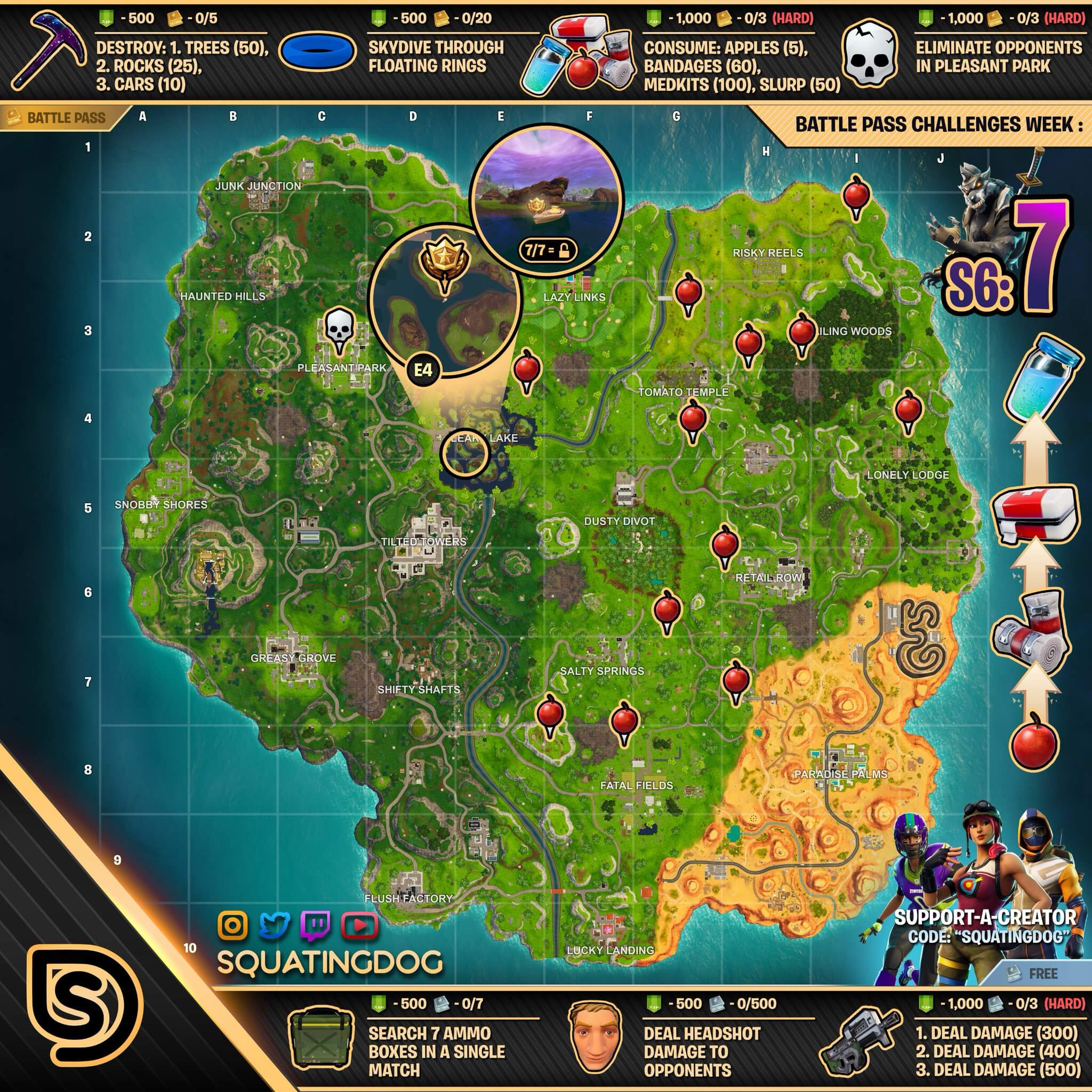 Fortnite Season 6 Week 7 Challenges Guide Cheat Sheet Gaming Lyf