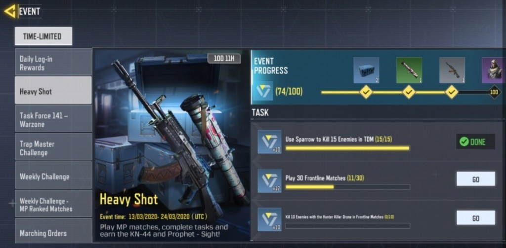 cod mobile heavy shot event