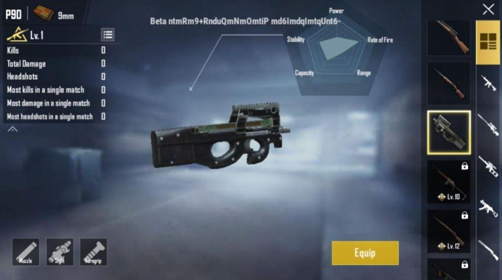 PUBG Mobile p90 gun, pubg mobile new gun