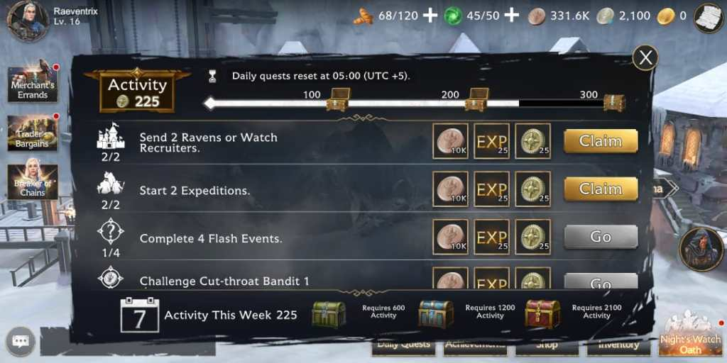 GOT Beyond the wall Daily Quests