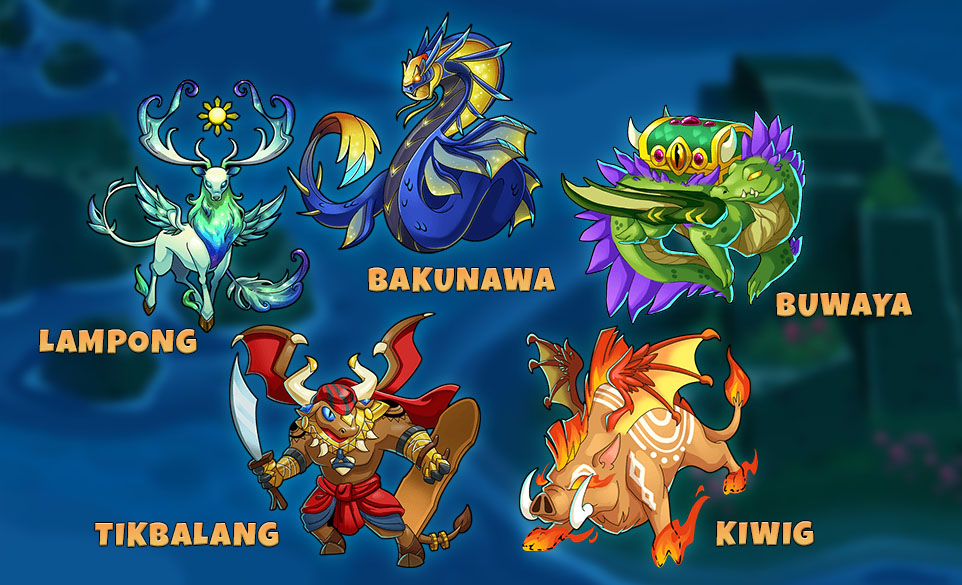 List of 5 New Everwing Sidekick Dragon (Bakunawa, Kiwig, Sarangay, Lampong and Buwaya)