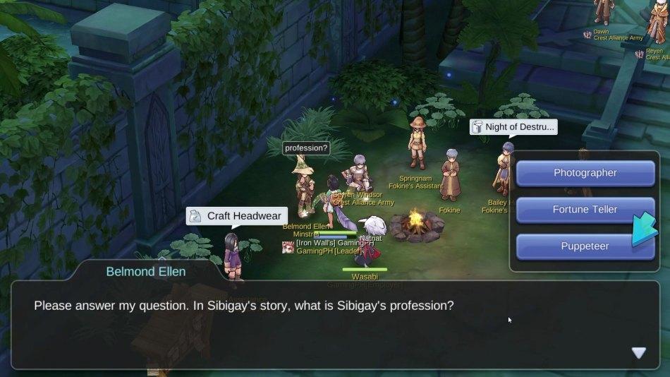 Answers to Wisdom Family Quest (Glast Heim Minstrel), Ragnarok M