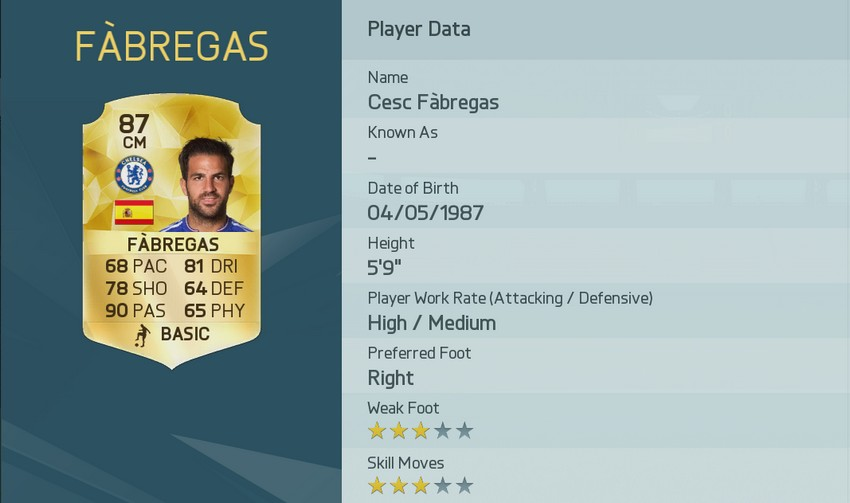 2 Cesc Fàbregas Fifa 16 FUT die besten Passgeber