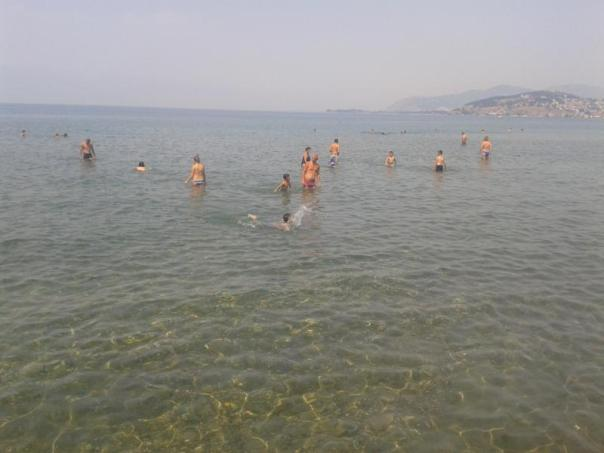 Muy animado , en el Lago Ohrid .