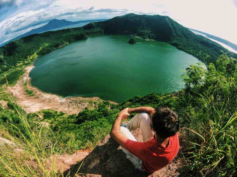Red Lava view after hiking Taal Volcano