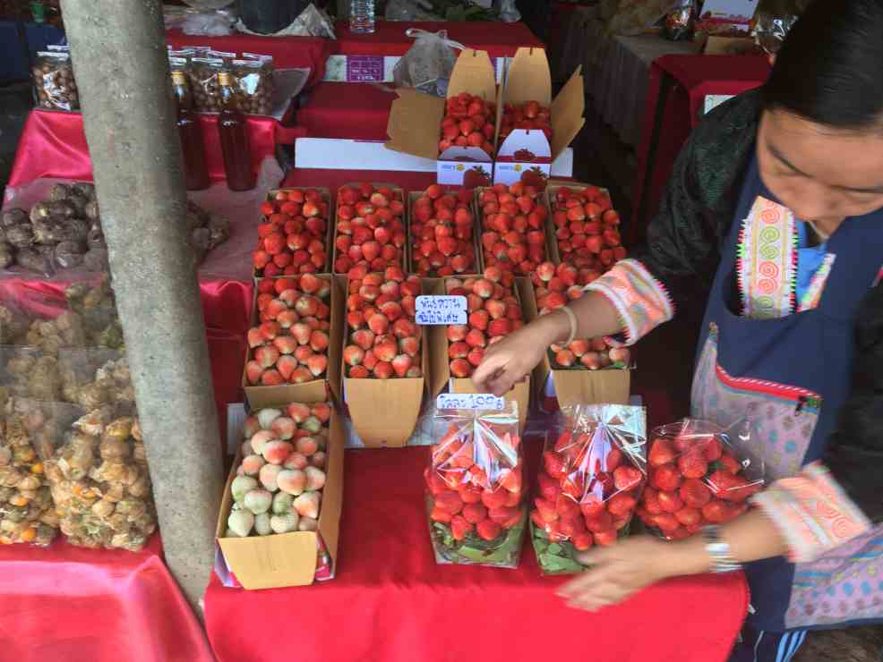 Delicious and very sweet, fresh strawberries sold at Chiang Mai markets.