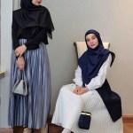 17 Kombinasi Paduan Baju Muslim dengan Pleated Skirt