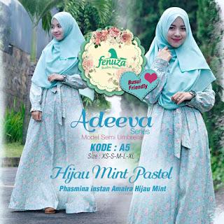 Gamis Fenuza Adeeva Series A5 Hijau Mint Pastel