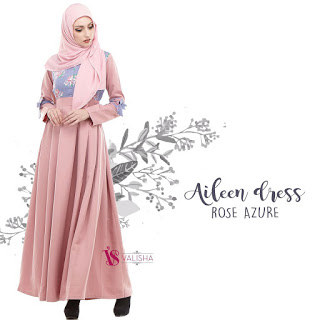 Gamis Valisha Aileen Dress Rose Azure