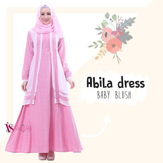 Gamis Valisha Abila Dress Baby Blush