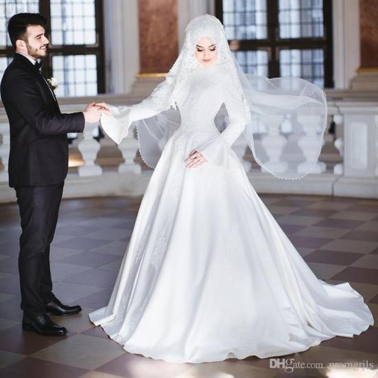 contoh busana pernikahan dari kain satin bridal
