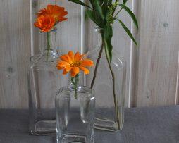 Äldre flaskor i klarglas | Set med 3
