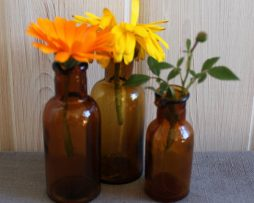 Äldre små flaskor i brunt glas | Set med 3