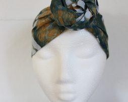 Hårband | Grön batik med växtmönster