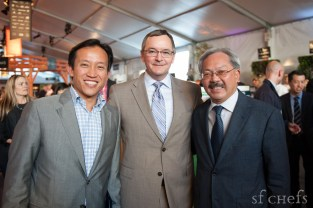 Rob Black, (center) Executive Director of the Golden Gate Restaurant Association with San Francisco Mayor, Edwin Lee, and President of the San Francisco Board of Supervisors, David Chiu