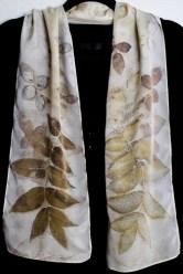 Butternut leaves on silk