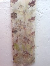 Eco printed scarf with tropical leaves