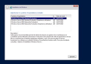 Choix du type de système installer - Standard ou DataCenter