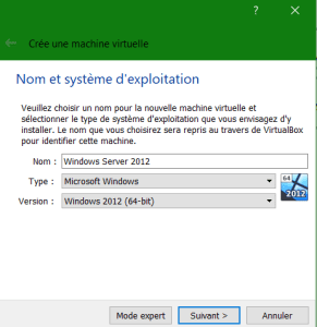 Création d'une machine virtuelle sous Virtual Box