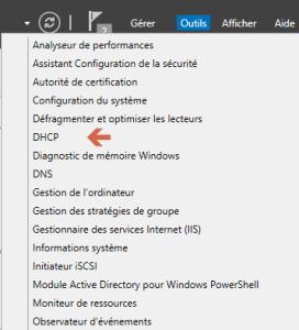 Dans outils, choisissez DHCP