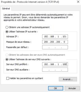 DNS préferé ajouté pour l'intégration windows server