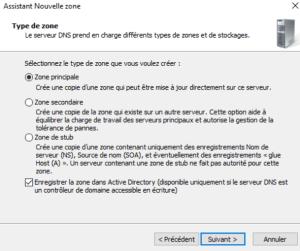 Selectionnez nouvelle zone windows server