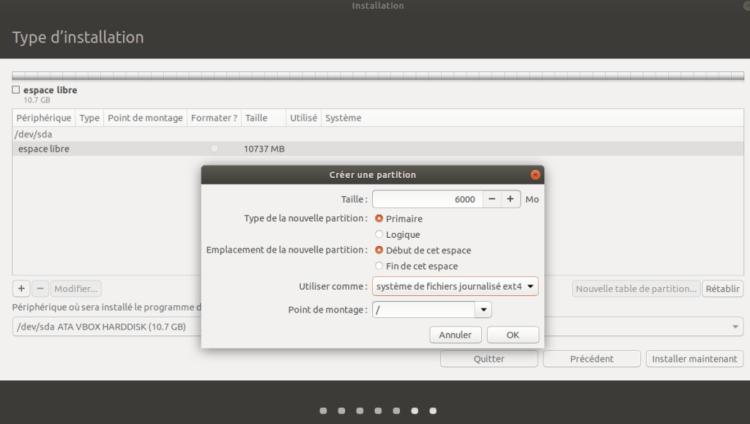 Première type de partition 1024x579 - Logiciels Libres : Linux, pourquoi choisir Ubuntu et comment installer la version 18.04 sous Workstation