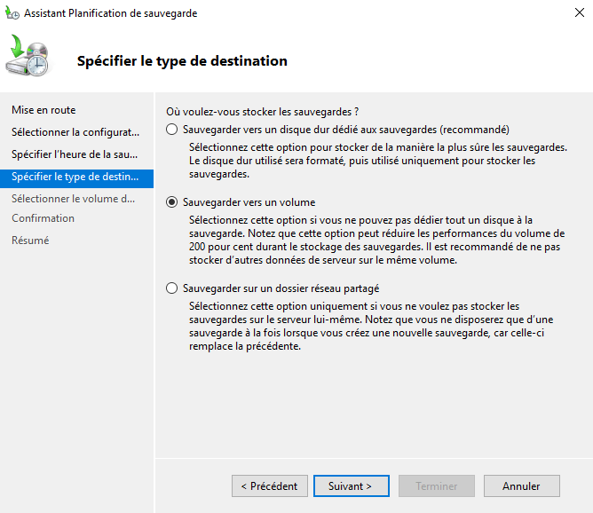 Sauvegarde Windows Server vers un volume