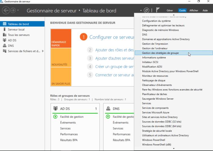 GPO gestion de stratégie de groupe sous Windows Server 2016