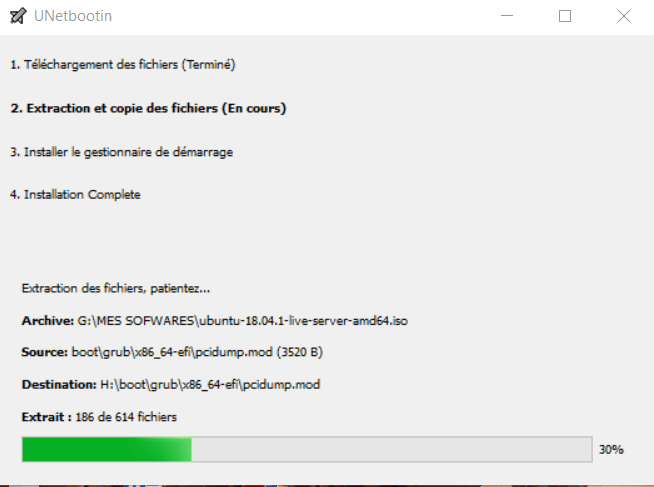 Demarrage de la copie des fichiers - Comment booter Ubuntu sur clé USB sous Windows avec Unetbootin ?