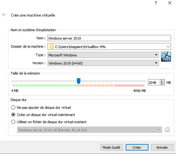 installer windows server 2019 sur virtualbox