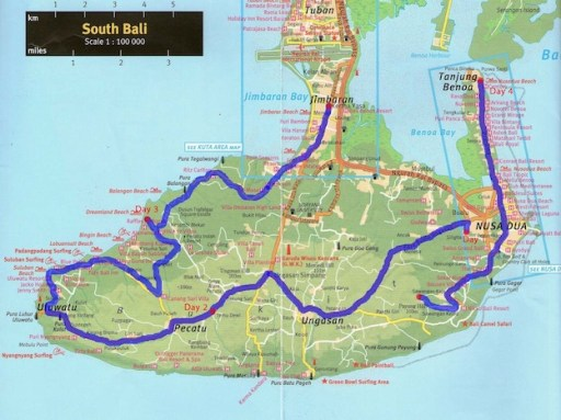 peta bali selatan