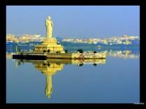 World's tallest monolith of Gautama Buddha located in side the rock island in Hussain Sagar
