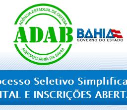 ADAB abre processo seletivo oferecendo vagas para Médico Veterinário.