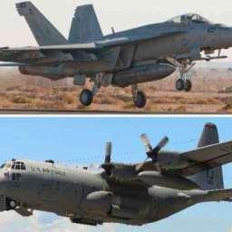 Dois aviões de guerra americanos batem e caem no mar