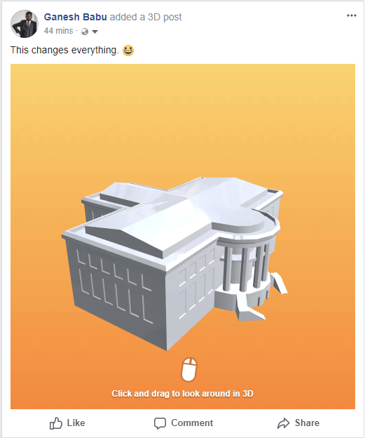Share 3D posts in Facebook