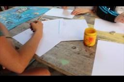 erste Sketches auf Papier im Graffiti Workshop mit Inka...