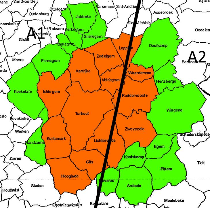 Omtrek onder parijs (Rood), boven Parijs (Groen)