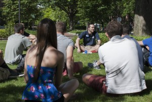 Orientation leader Matthew Twinem, a junior at Penn State, conducted an informal question and answer session with a group of new students during the two-day New Student Orientation (NSO) on June 17. (Provided photo)