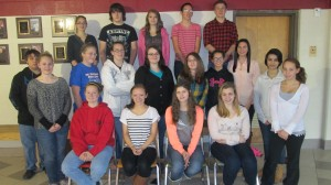 October students of the month at Clearfield High School are, from left, front row: Brianna Spencer, Danelle Billotte, Macala Leigey and Gabby Naddeo; middle row: Mason Shadduck, Lauren Stover, Brittany Struble, Miranda Wormuth, Taylor Humberson, Sierra Fulmer, Tyanne Miles, Casey Ulrich, Althea Lauver and Seanna Powell; and back row: Brianna Spencer, Timmy Vaux, Alexis Stephenson, Shane Graham and Noah Cline. (Provided photo)