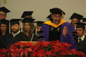 Associate Professor of Biology and Forestry Robert Loeb stressed the value of education to new graduates at the fall commencement ceremony.  (Provided photo)