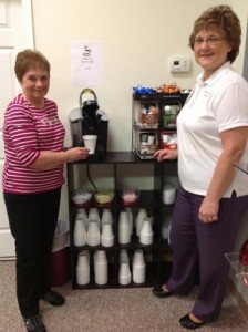 Peggy Cawthern (left), president of Friends, and Vicki Baughman, gift shop manager/buyer, at the coffee area of the new gift shop at the Station Medical Center. (Provided photo)